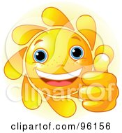 Royalty Free RF Clipart Illustration Of A Cute Sun Face Holding A Thumb Up