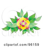 Royalty Free RF Clipart Illustration Of A Pretty Pink And Yellow Flower Blooming Over Green Leaves