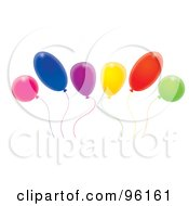 Royalty Free RF Clipart Illustration Of A Group Of Swaying Colorful Party Balloons On Strings