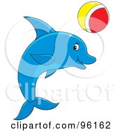 Royalty Free RF Clipart Illustration Of A Playful Blue Dolphin With A Red White And Yellow Ball by Alex Bannykh