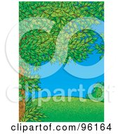 Royalty Free RF Clipart Illustration Of A Tree Full Of Green Spring Foliage Framing A Park Scene Of A Grassy Hill On A Clear Day by Alex Bannykh