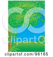 Tree Full Of Airbrushed Spring Foliage Framing A Park Scene Of A Grassy Hill On A Clear Day