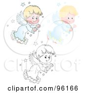 Royalty Free RF Clipart Illustration Of A Digital Collage Of A Cute Blond Angel Shown In Airbrush Cartoon And Outline by Alex Bannykh