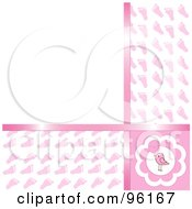 Royalty Free RF Clipart Illustration Of A Pink Baby Girl Footprint Background With Copyspace
