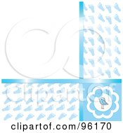 Blue Baby Boy Footprint Background With Copyspace