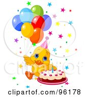 Royalty Free RF Clipart Illustration Of A Cute Birthday Duck With Balloons Stars And A Cake by Pushkin