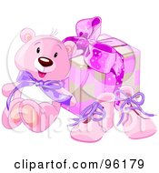 Royalty Free RF Clipart Illustration Of A Pink Teddy Bear Against A Girls Birthday Present And Pink Shoes