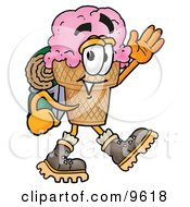 Ice Cream Cone Mascot Cartoon Character Hiking And Carrying A Backpack