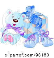 Royalty Free RF Clipart Illustration Of A Blue Teddy Bear Against A Boys Birthday Present And Blue Shoes by Pushkin