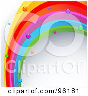 Rainbow Curve With Dots On A Shaded White Background