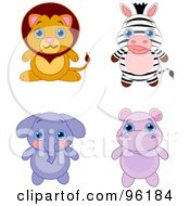 Royalty Free RF Clipart Illustration Of A Digital Collage Of An Adorable Baby Lion Zebra Elephant And Hippo by Pushkin