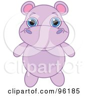 Poster, Art Print Of Adorable Baby Purple Hippo With Big Blue Eyes