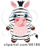 Royalty Free RF Clipart Illustration Of An Adorable Baby Zebra With Big Blue Eyes by Pushkin