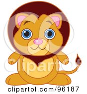 Royalty Free RF Clipart Illustration Of An Adorable Baby Male Lion With Big Blue Eyes by Pushkin