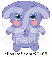 Poster, Art Print Of Adorable Baby Purple Elephant With Big Blue Eyes