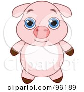 Royalty Free RF Clipart Illustration Of An Adorable Baby Pink Piglet With Big Blue Eyes by Pushkin
