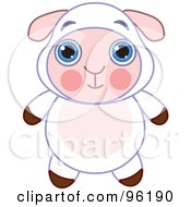 Royalty Free RF Clipart Illustration Of An Adorable Baby Sheep With Big Blue Eyes by Pushkin