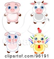 Royalty Free RF Clipart Illustration Of A Digital Collage Of An Adorable Baby Piglet Bull Lamb And Rooster by Pushkin
