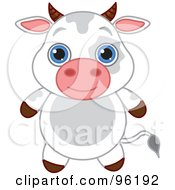 Royalty Free RF Clipart Illustration Of An Adorable Baby Cow With Big Blue Eyes by Pushkin