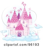 Pink Butterflies Surrounding A Fairy Tale Castle In The Sky