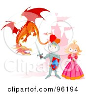 Royalty Free RF Clipart Illustration Of A Cute Knight Protecting A Princess From A Mean Dragon Near A Castle by Pushkin #COLLC96194-0093