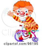 Royalty Free RF Clipart Illustration Of A Cute Clown Boy Riding A Trike And Waving by Pushkin