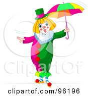 Royalty Free RF Clipart Illustration Of A Cute Clown Walking With An Umbrella On A Tightrope