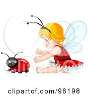 Royalty Free RF Clipart Illustration Of A Baby Fairy Girl Reaching For A Ladybug by Pushkin