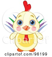 Royalty Free RF Clipart Illustration Of An Adorable Rooster Lion With Big Blue Eyes