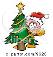 Ice Cream Cone Mascot Cartoon Character Waving And Standing By A Decorated Christmas Tree