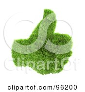 Royalty Free RF Clipart Illustration Of A Green 3d Grass Hand With A Thumb Up by chrisroll