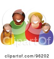 Royalty Free RF Clipart Illustration Of A Happy Mixed Family 1 by Prawny