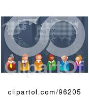 Royalty Free RF Clipart Illustration Of A Team Of Business People Lined Up Under A World Map