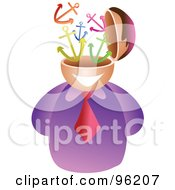 Royalty Free RF Clipart Illustration Of A Businessman With An Anchor Brain