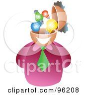 Royalty Free RF Clipart Illustration Of A Businessman With A Light Bulb Brain by Prawny