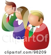 Royalty Free RF Clipart Illustration Of Three Business People In A Diagonal Line