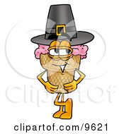 Clipart Picture Of An Ice Cream Cone Mascot Cartoon Character Wearing A Pilgrim Hat On Thanksgiving by Toons4Biz