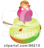 Royalty Free RF Clipart Illustration Of A Happy Woman Standing An An Apple Slice