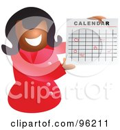 Happy Black Woman Holding Up A Calendar With Circled Dates