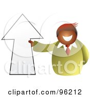 Royalty Free RF Clipart Illustration Of A Businessman Holding An Up Arrow