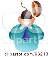Royalty Free RF Clipart Illustration Of A Businessman With A Bomb Brain