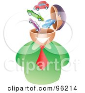 Royalty Free RF Clipart Illustration Of A Businessman With An Automotive Brain