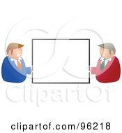 Royalty Free RF Clipart Illustration Of Two Happy Caucasian Businessmen Holding Up A Blank Sign