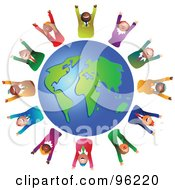 Royalty Free RF Clipart Illustration Of A Team Of Celebrating Diverse Business People Around A Globe