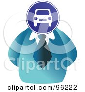Royalty Free RF Clipart Illustration Of A Businessman With A Car Sign Face