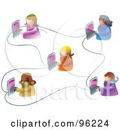 Royalty Free RF Clipart Illustration Of A Group Of Five Women Working On An Office Network