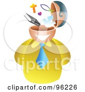 Royalty Free RF Clipart Illustration Of A Businessman With A Christian Brain