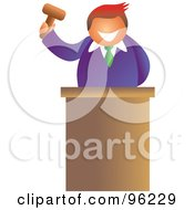 Friendly Auctioneer Holding Up A Gavel Behind His Podium