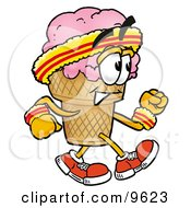 Clipart Picture Of An Ice Cream Cone Mascot Cartoon Character Speed Walking Or Jogging