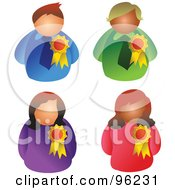 Royalty Free RF Clipart Illustration Of A Digital Collage Of Three Business Men And Women With Award Ribbons